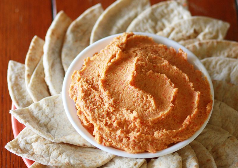 Roasted Red Pepper Hummus, makes 4-5 cups